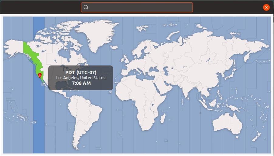 ubuntu linux time zone map