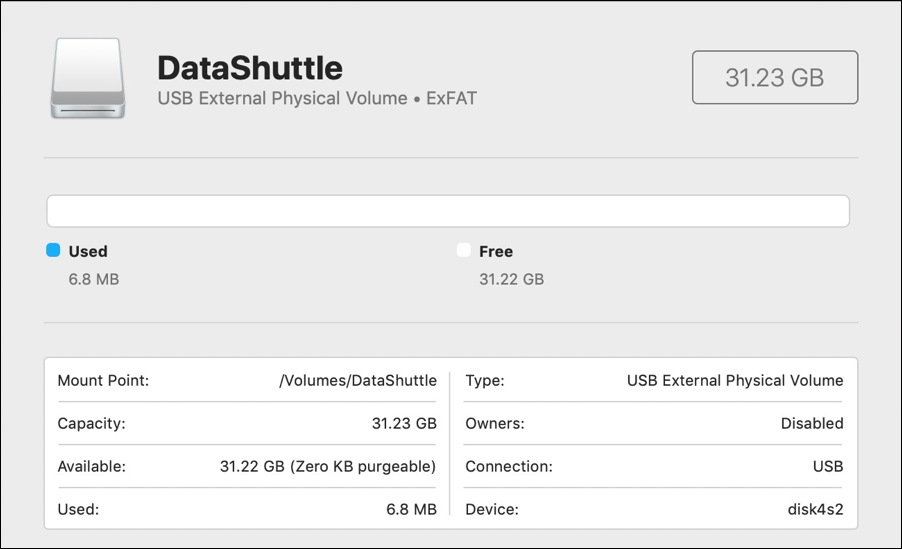 macos x - disk utility - usb flash drive disk formatted exfat