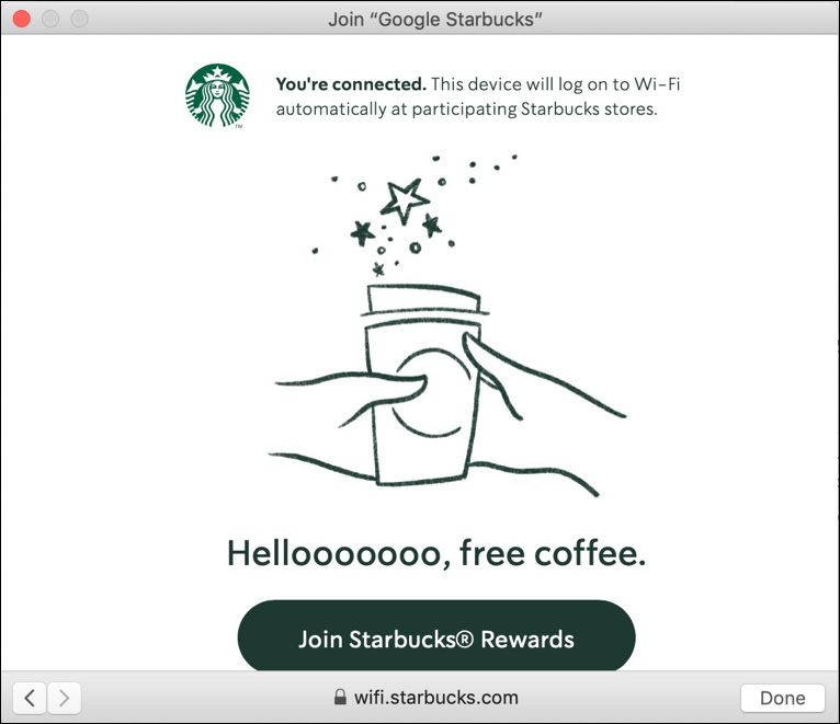 starbucks wifi network - logged in