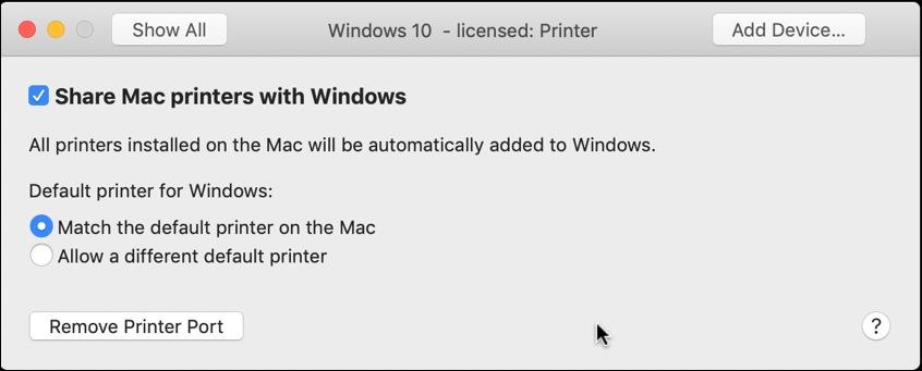 vmware fusion - printer window settings configuration share