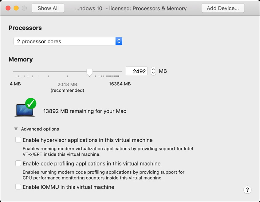 vmware fusion - processors and memory settings