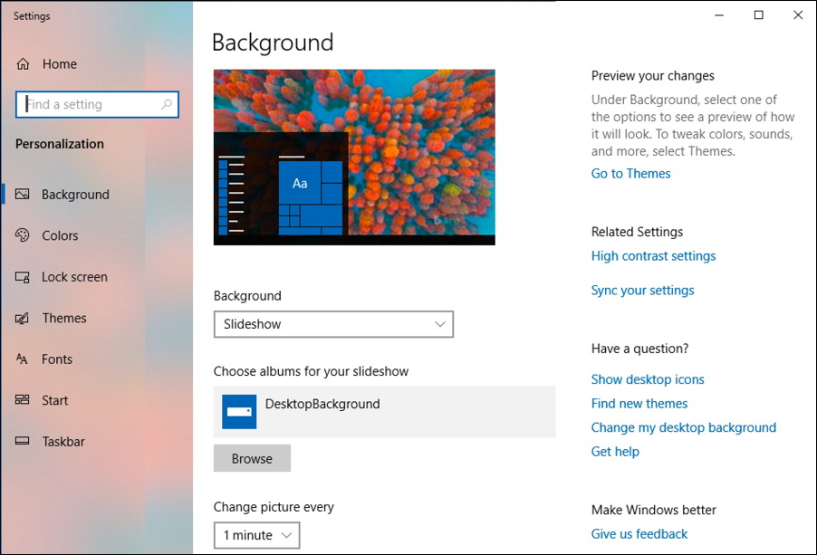win10 background settings preferences