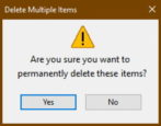 windows 10 win10 - disable stop block delete files empty recycle bin confirm prompt