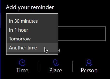cortana reminder time
