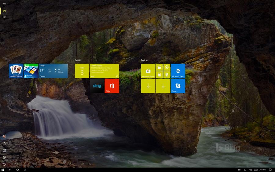 windows 10 tablet mode start screen tiles