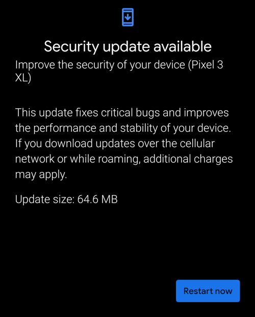 android security update installed restart