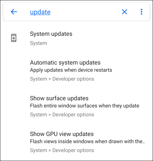 android search - updates