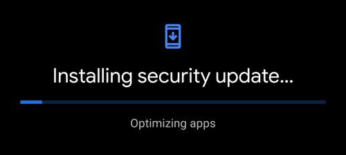android - installing security update - optimizing apps