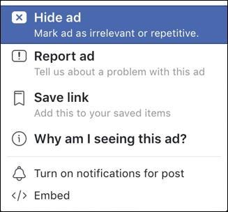 facebook ad feedback menu