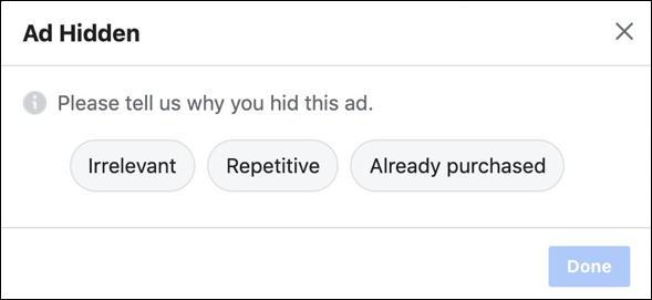 why hide facebook ad