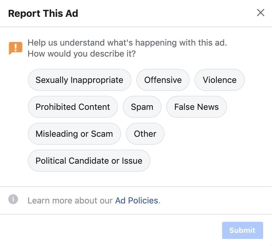 report offensive fake news facebook ad advert