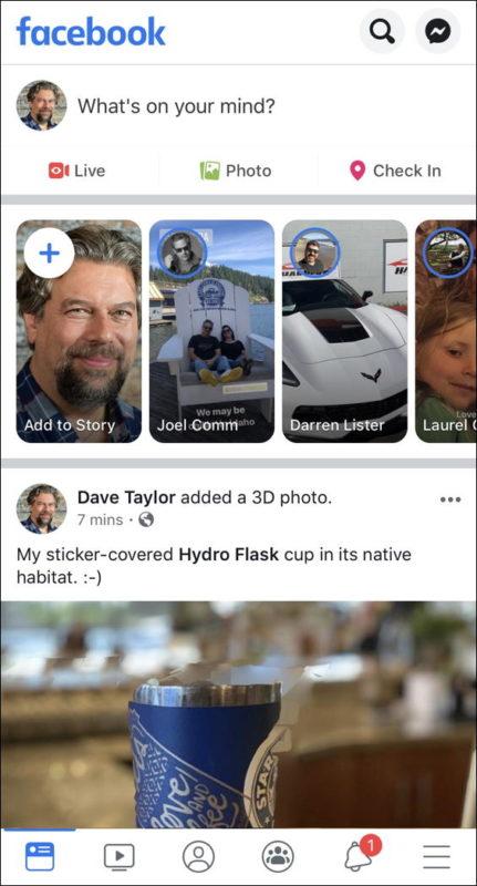 facebook mobile iphone ios main screen