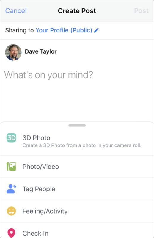 facebook mobile status update - 3d photograph