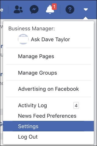facebook main menu - settings
