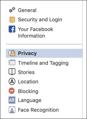 facebook settings > privacy