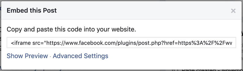 facebook post embed code pop-up