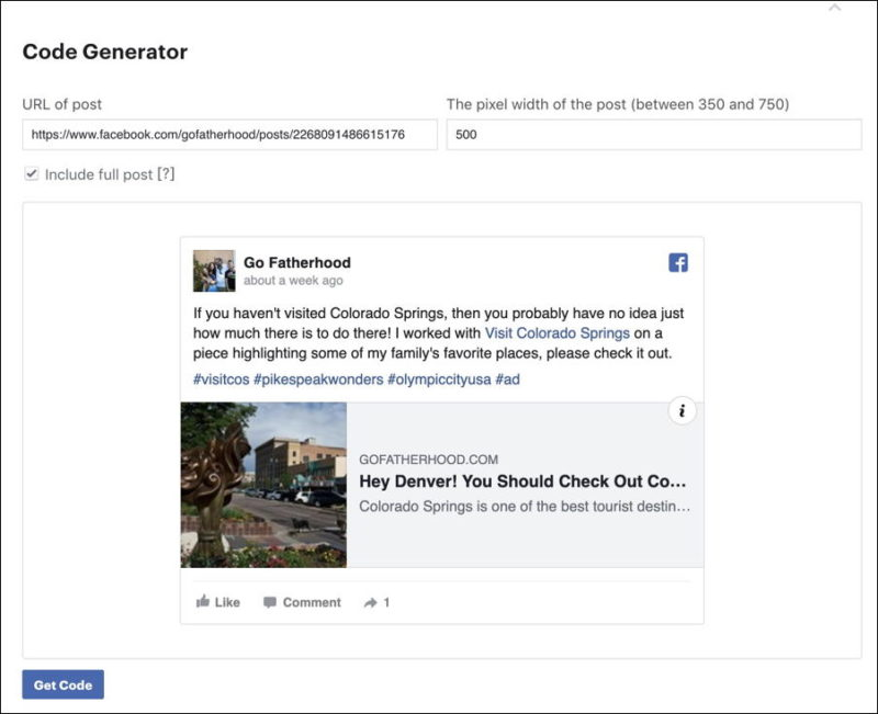 facebook embed - advanced settings options permalink url