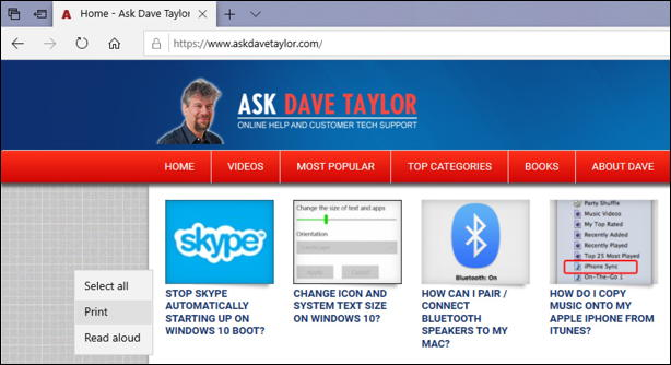 ask dave taylor home page - in microsoft edge win10
