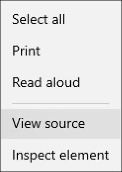 win10 microsoft edge - context menu with view source