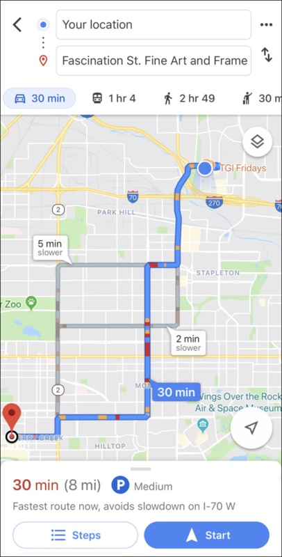 google maps choose fastest directions