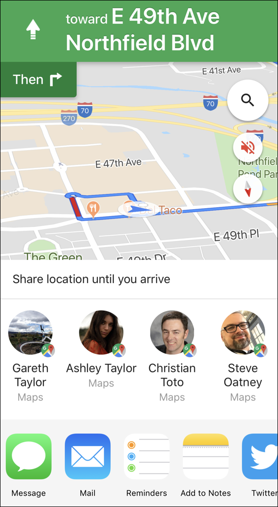share trip progress - google maps - iphone ios12
