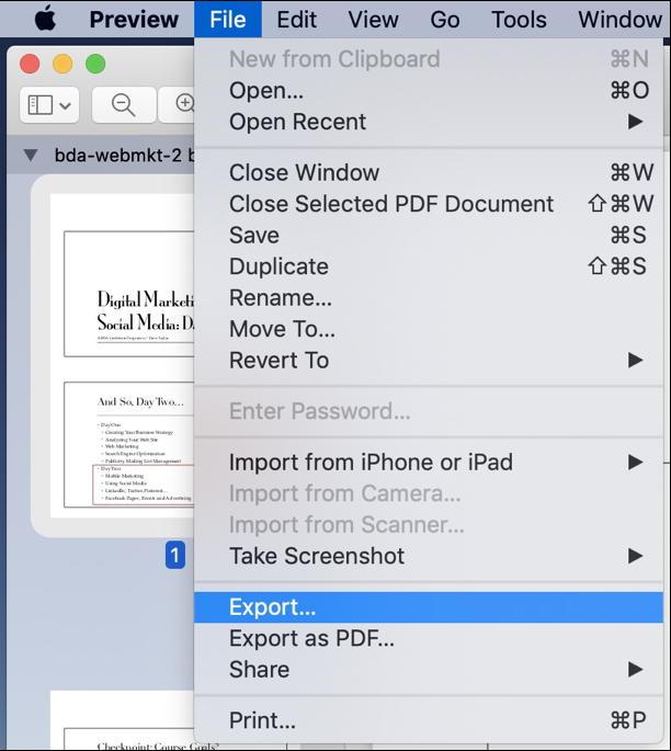 mac preview > file > export