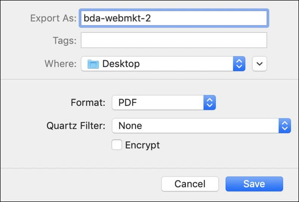 mac preview > export document