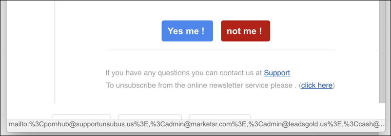 mailto link on button, email scam