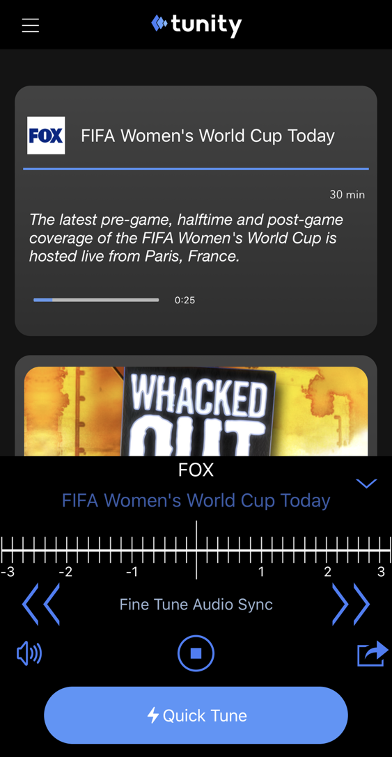 tunity - audio from fs1 fox sports 1 muted tv