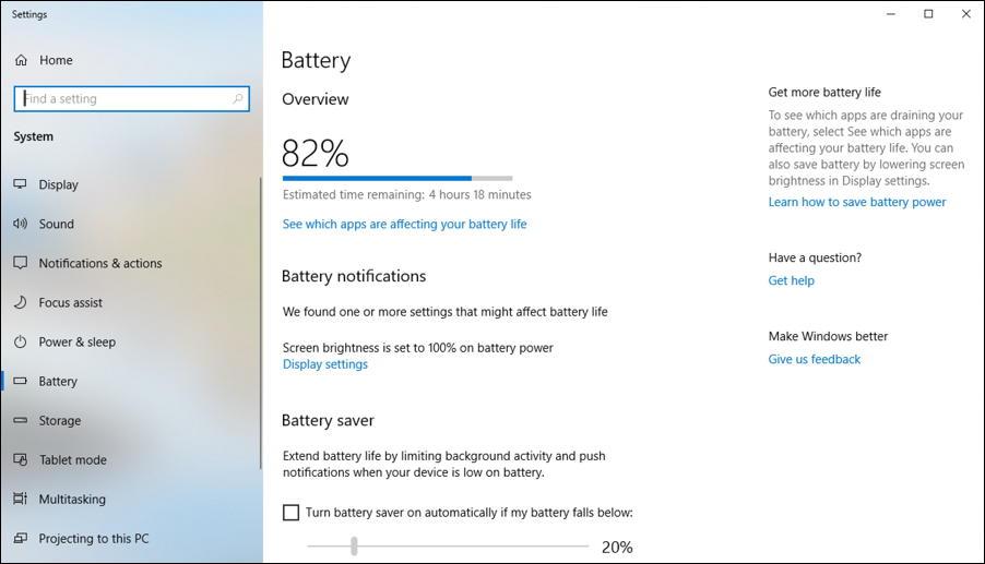 windows 10 control panel - battery saver