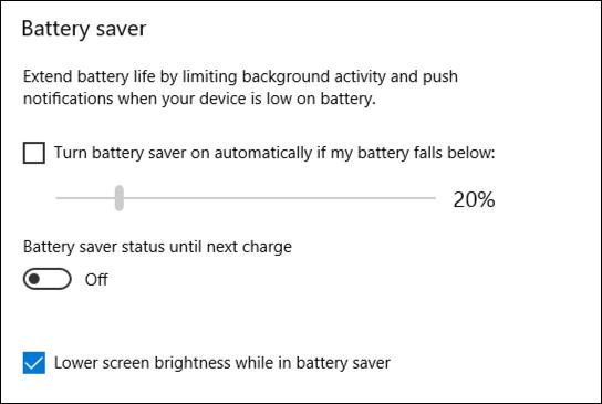 win10 battery saver settings preferences