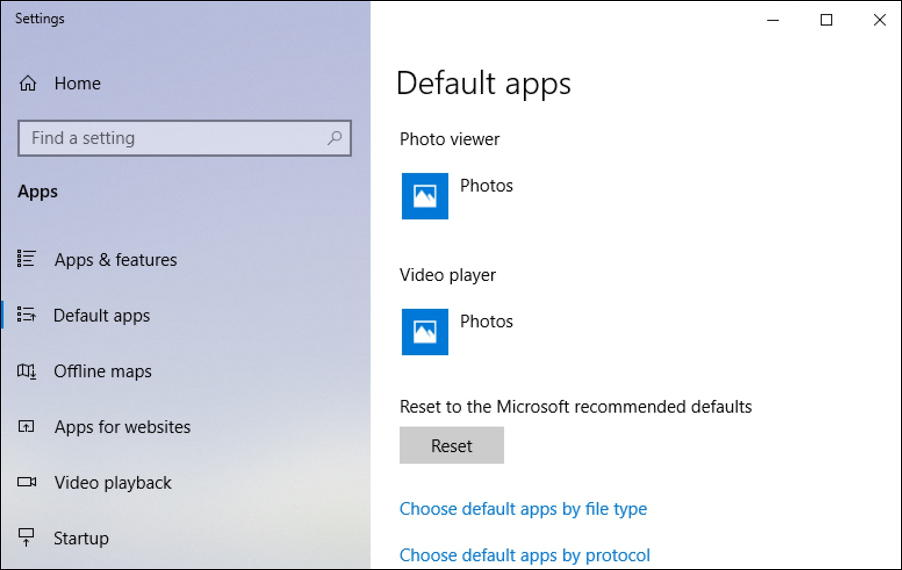 windows 10 - default apps - video