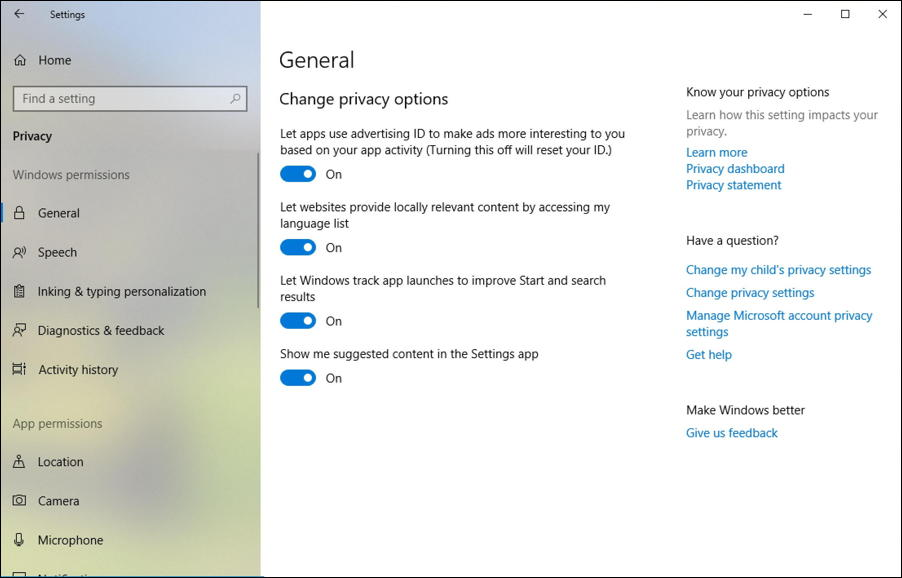 windows 10 privacy settings control panel