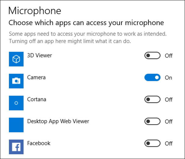 win10 apps programs allowed access microphone control listening