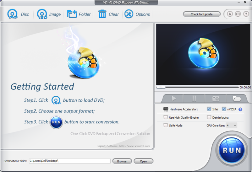 winx dvd ripper platinum main screen