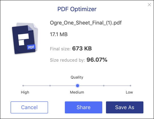 wondershare pdfelement 7.0 mac - optimized pdf shrink shrunk smaller