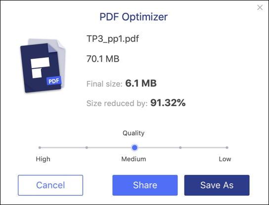 wondershare pdfelement 7.0 mac - optimize shrink reduce pdf document