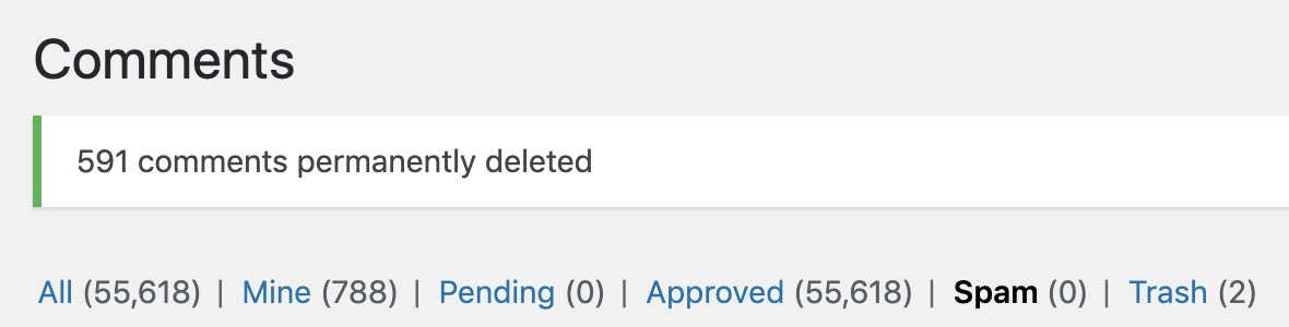 wordpress comment spam - emptied deleted