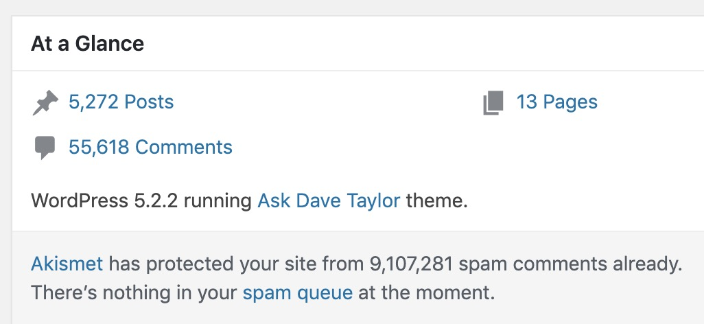 wordpress dashboard - akismet spam comments