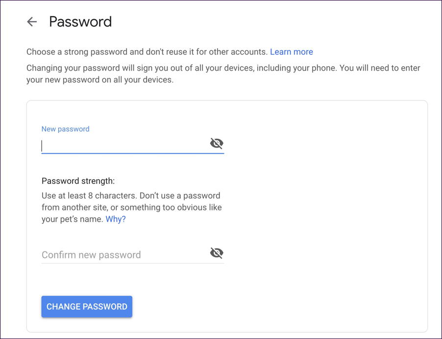 change update new gmail password security
