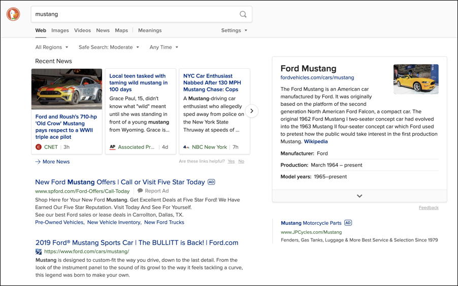 duckduckgo search for mustang