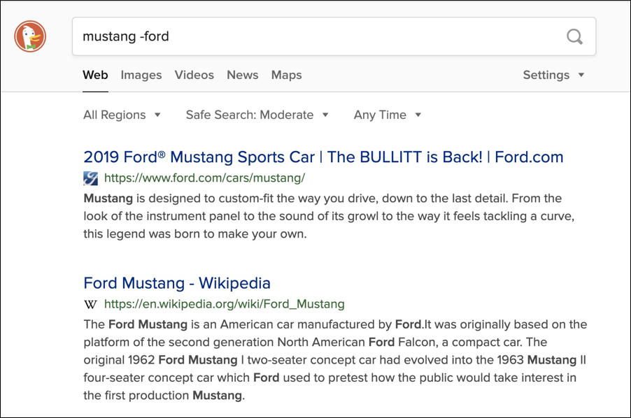 duckduckgo search - mustang -ford