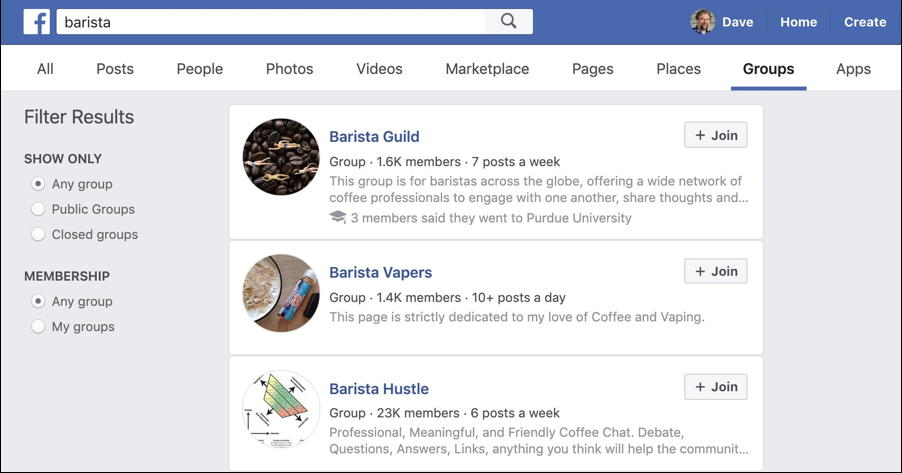 facebook barista groups