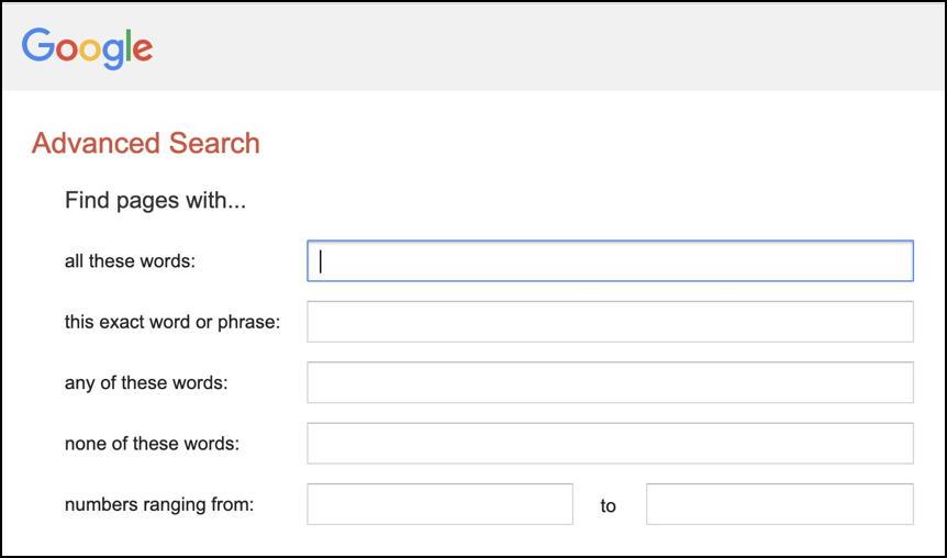 google advanced search - part 1