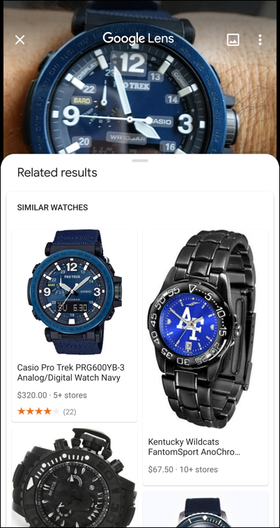 google lens - casio watch