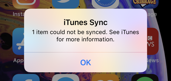 iphone - itunes sync - can't sync item