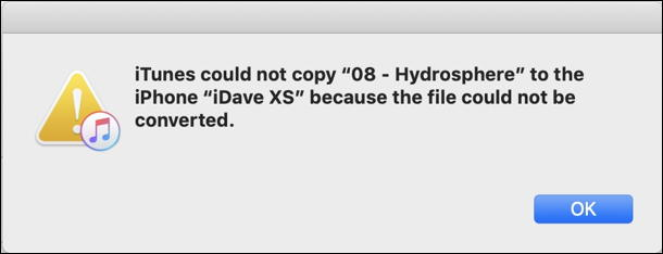 mac itunes - can't sync error information window