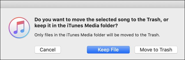 itunes: sure you want to delete file track song music