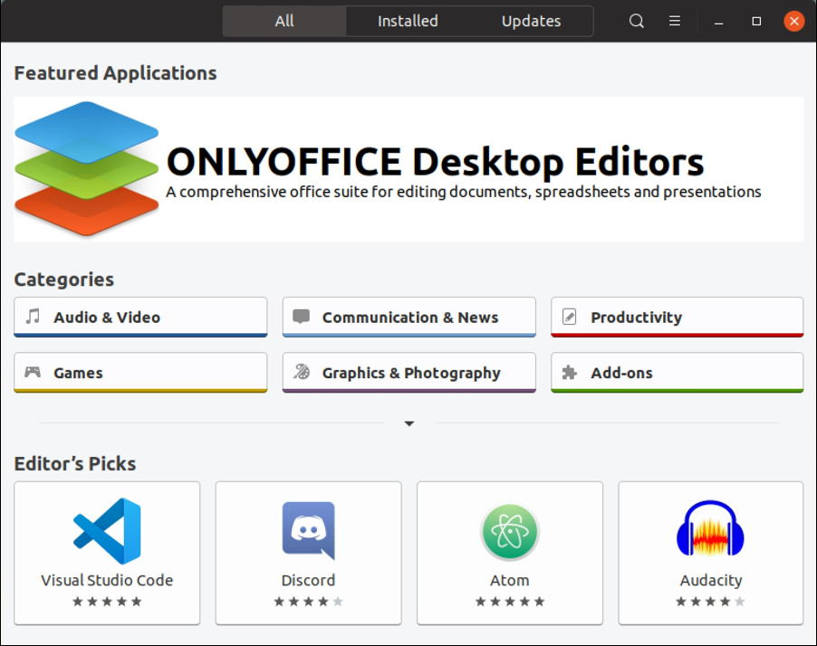 ubuntu linux app store directory programs