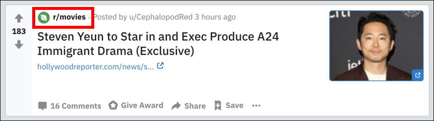 reddit post - subreddit movies